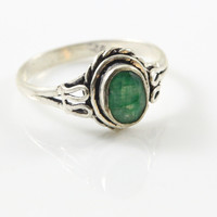 Green Onyx Ring  925 Silver ring Overlay