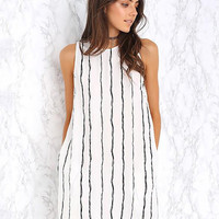 Black and White Striped Sleeveless Chiffon A-Line Mini Dress