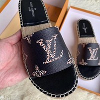 Louis Vuitton LV vintage women's colorblock print letter fisherman slippers sandals