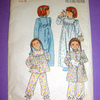 Children's Nightgown, Girls Pajamas and Robe Child Size 6 Vintage Butterick 5707 Sewing Pattern