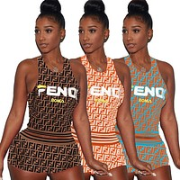 FENDI Fashion Women Sexy Print Sleeveless Top Shorts Set Two-Piece Coffee