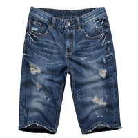 Men's Summer Stylish Worn Hole Jeans Washed Denim Shorts