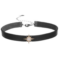 Black Leather Choker With Starburst