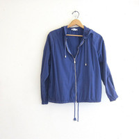 20% OFF SALE Vintage blue cotton jacket. Zip up drawstring hoodie. Slouchy light weight preppy Jacket