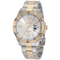 Invicta 0086 Men's Specialty II Quartz Silver Dial Two Tone Steel Bracelet Watch