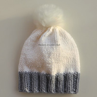 Knitted beanie hat,White and gray,fashion accessory,slouchy wool cap,fur pompom beanie,warm fall hat,wool beanie,women hat,stocking stuffer