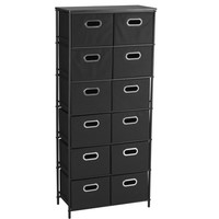 Household Essentials  Storage Unit with 6 Shelves and 12 Removable Black Bins, Black Finish