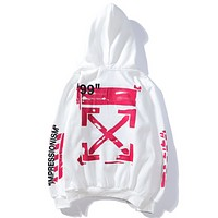 Off White New fashion letter cross arrow print couple top hooded long sleeve sweater White