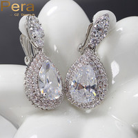 Big Dangle Drop Cubic Zirconia Simulated Diamond Women Clip on Earrings Without Piercing Jewelry For Non Pierced Ears E100