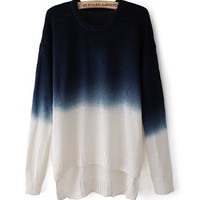 Gradient Color Round Neck Long-Sleeved Sweater JCFCI