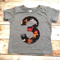 zoo jungle lions tigers camels 3 for 3rd boys Birthday shirt triblend grey Any Number 1 2 3 4 5 6 7 8 third three rabbit rhino animals