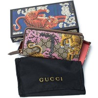 ONETOW Gucci Bengal Pink Mixed Tiger Fabric leather Continental Wallet Zip Around New
