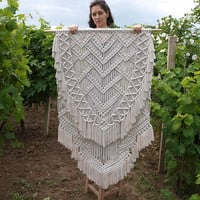 FREE SHIPPING Large macrame wall hanging Large tapestry Boho living room decor Bohemian bedroom decor White wall decor Anniversary gift her
