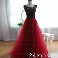 A-line Neck Tulle Lace Tulle Long Prom Dresses, Formal Dresses