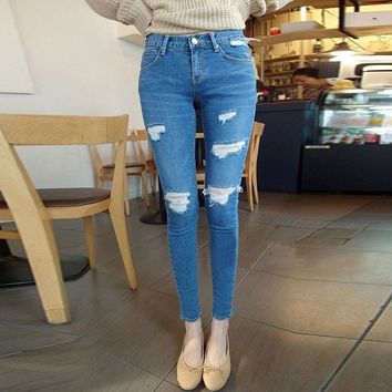 Blue Mid Waist Jeans Denim Ripped Skinny Women's Pencil Pants = 1930160644