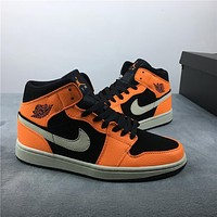 Air Jordan 1 Mid Orange Black 554724-062