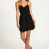BLACK MINIMALIST FLARE DRESS