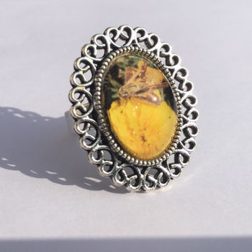 Handmade photo jewelry, Butterfly Ring, antique silver ring, floral jewelry, springtime rings