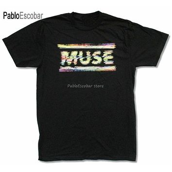 men brand tshirt summer top tees Muse Static Black T Shirt New Band Merch Tops New Unisex Funny Tee Shirt|T-Shirts