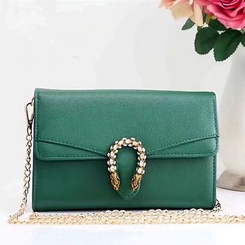 Gucci Green Shopping Bag Leather Chain Crossbody Shoulder Bag Satchel