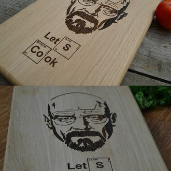 Breaking Bad Heisenberg Cutting Board Let's Cook Wooden Cutting Board Cookware Original Gift Personalized Gift Christmas Gift