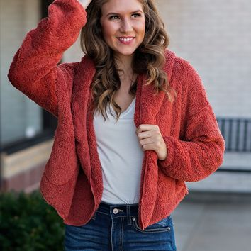 Lucky To Find You Sherpa Jacket : Rust