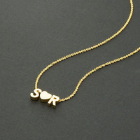 Gold Couple Initial Necklace (TWO letters), 16K Gold Plated Chain / N179G