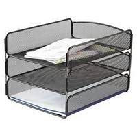 Safco® Steel Mesh Desk Tray with Three Compartments, Letter - Black : Target