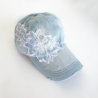 Embellished Baseball Cap-Women's Cap-Baseball Cap-Fashion Cap-Steam Punk Cap-Denim Cap.