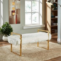 Chloe White Fur Bench