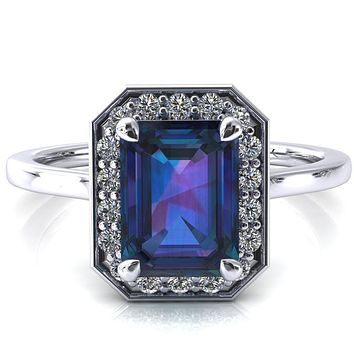 Holly Emerald Alexandrite 4 Prong Pinpoint Floating Halo Scalloped Cathedral Ring
