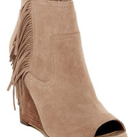 Willow Fringe Peep Toe Wedge Bootie
