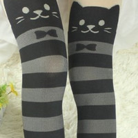 New design! Fake knee-high thigh-high tights stockings cat border pattern