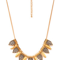 FOREVER 21 Faux Stone Statement Necklace Dark Grey/Gold One