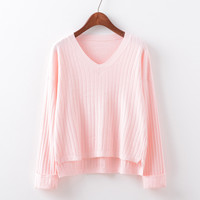 Sweater V-neck Knit Sleeves [9017746180]