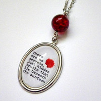"Dexter: ""There are no secrets..."" blood splat-shouting face optical illusion pendant necklace"