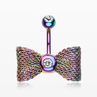 zzz-Colorline Mesh Bow-Tie Belly Button Ring