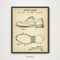 Golf Shoes Patent Print, Digital Download, Man cave Wall Art, Golfer Gifts, Golf Blueprint Illustration, Golf Clubhouse Decor Vintage Poster