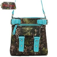 West Forest Camo Hipster Messenger Bag Cross Body Purse (Turquoise)