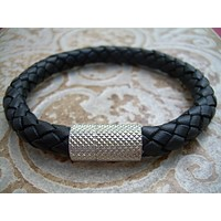 Mens Braided Leather Bracelet,  Black, Stainless Steel Magnetic Clasp, Leather Bracelet, Mens Bracelet, Mens Jewelry, Mens Gift, For Him