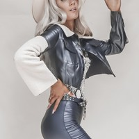 Bad to the Bone LINE & DOT Faux Leather & Shearling Contrast Jacket