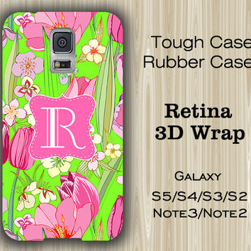 Teen Green Floral Monogram Samsung Galaxy S5/S4/S3/Note 3/Note 2 Case