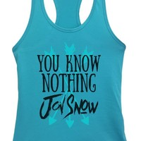 Womens You Know Nothing Jon Snow Grapahic Design Fitted Tank Top