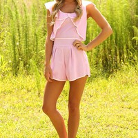 Preppy State Of Mind Romper: Pink/White