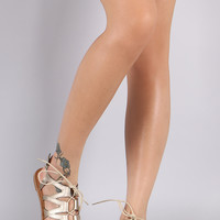 Qupid Strappy Lace-Up Gladiator Flat Sandal