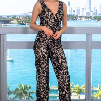Black and Beige Embroidered Jumpsuit