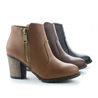 Rattle01 Ankle Zip Up Western Lug Sole Faux Wooden Heel Boots