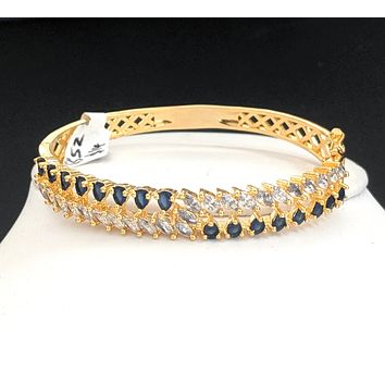 Dual line designer one gram gold cz stone bangle bracelet