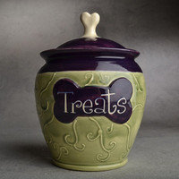"""Dog Treat Jar: """"Treats"""" Green and Purple by Symmetrical Pottery Made To Order"""