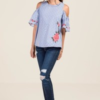 Hannah Dotted Striped Cold Shoulder Top